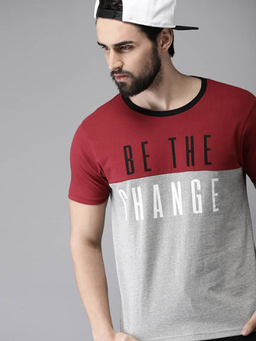 Men's Multicoloured Cotton Self Pattern Round Neck Tees - Trend Eve