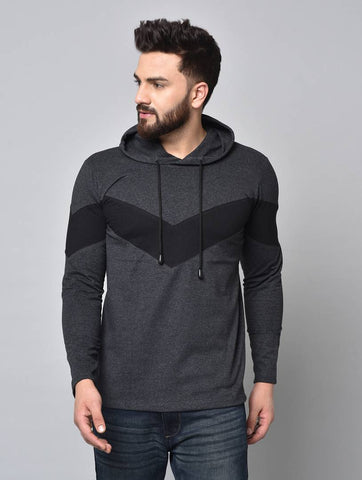 Men's Grey Colourblocked Cotton Hooded Tees - Trend Eve