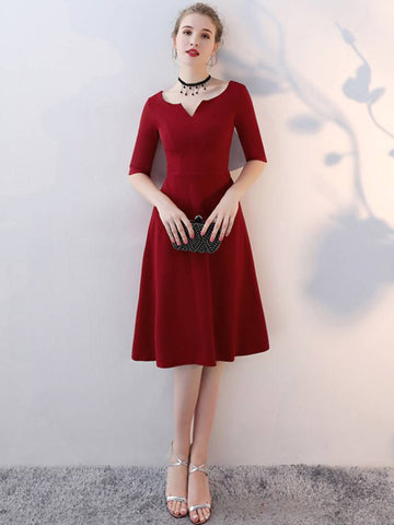 Elegant Red Solid V-Cut Neck Fit and Flare Dress