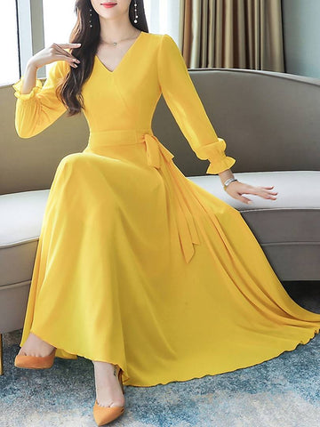 Women Yellow V-Neck Long Sleeve Georgette Maxi Dress