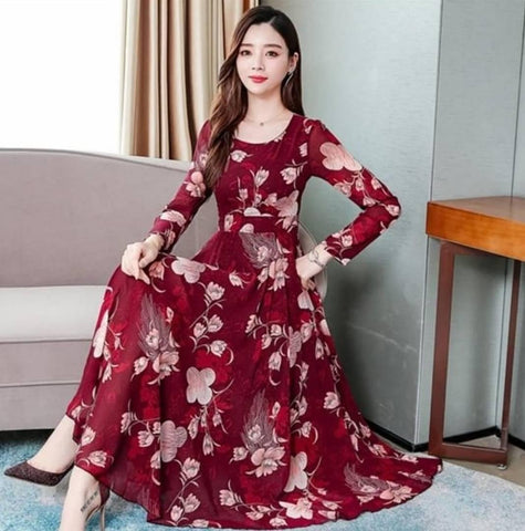Maroon Floral Print With Full Sleeve Dress