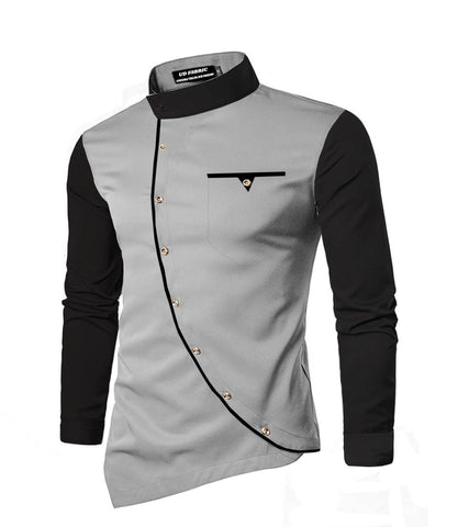 Men's Grey Cotton Self Pattern Long Sleeves Slim Fit Casual Shirt