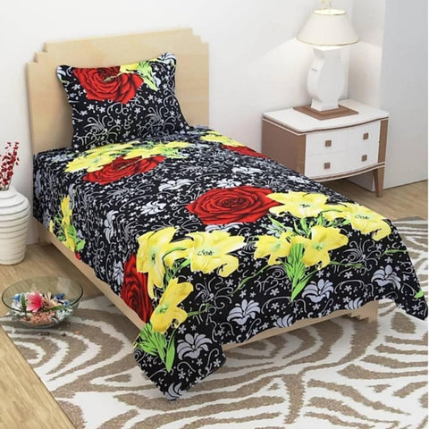 Beautiful Multicoloured  Polycotton Single Bedsheet With Pillow Cover - Trend Eve