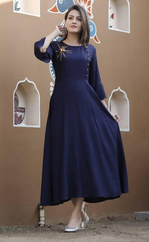 Women's Navy Blue Rayon Gown with Hand Work - Trend Eve