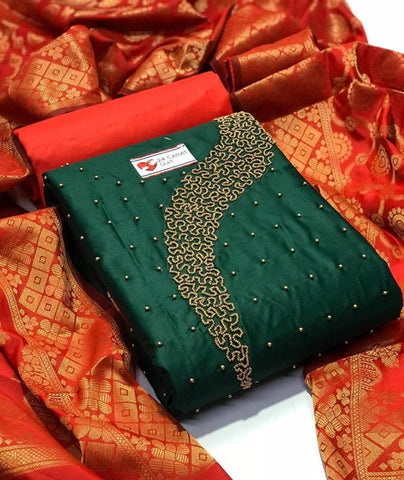 New Trendy Chanderi Cotton Dress Material with Dupatta