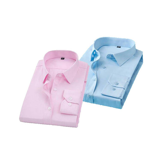 BUY 1 GET 1 FREE Men's Multicoloured Cotton Solid Long Sleeve Slim Fit Formal Shirt