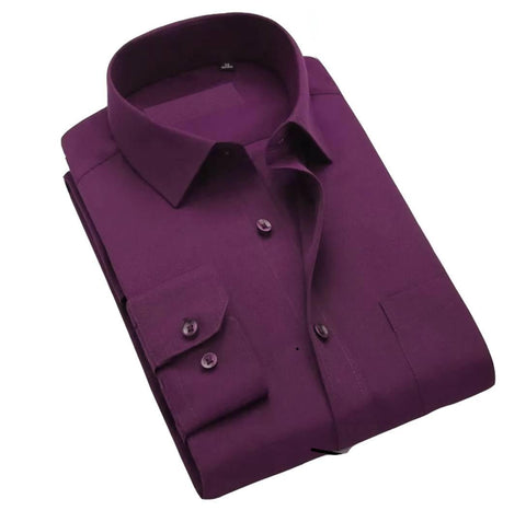 Purple Cotton Long Sleeve Formal Shirt For Men