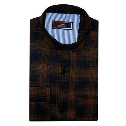 Men's Fashionable Multicoloured Cotton Checked Long Sleeves Regular Fit Casual Shirt