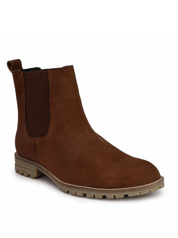 Men's Brown Suede Leather Outdoor Chelsea Boots
