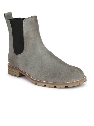 Men's Grey Suede Leather Outdoor Chelsea Boots