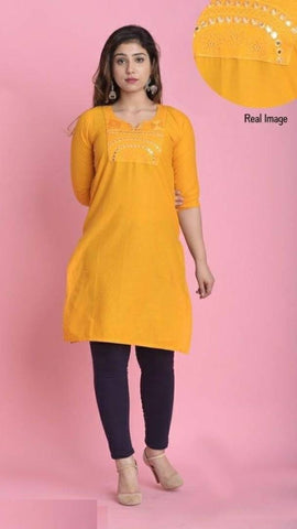 Reliable Yellow Cotton Mirror Work Straight Women's Kurti