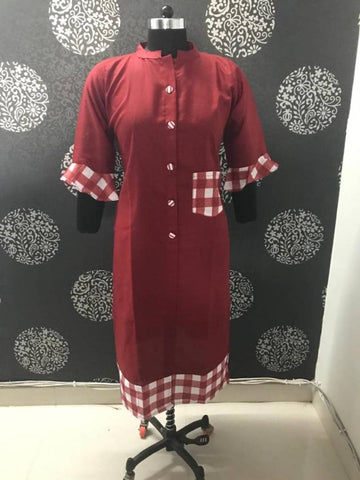 Stylish Maroon Bell Sleeves Cotton Kurti For Women's