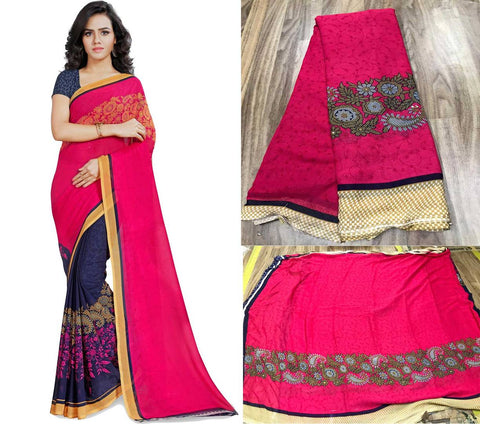 Women's Multicoloured Printed Georgette Saree with Blouse piece