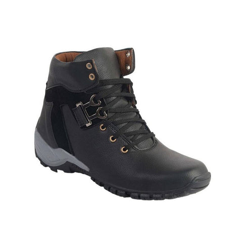 Popular Designer Jet Black Leatherette High Ankle Length Casual Boot