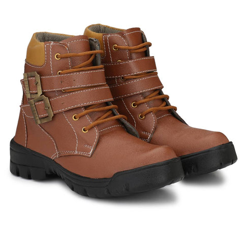 Popular Men's Brown Tough Leatherette Heavy Duty Buckle-Up Military High Ankle Length Casual Long Boot
