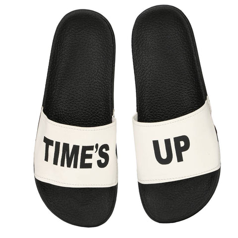 Stylish Fancy White Time's Up Printed Women Indoor Outdoor Flat Slippers Sliders Flip Flops Girls Slides