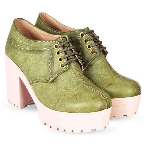 Women Trendy Green Synthetic Solid Heeled Boots