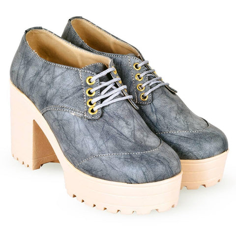 Women Trendy Grey Synthetic Solid Heeled Boots - Trend Eve
