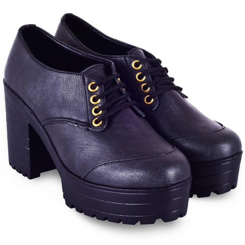 Women Trendy Black Synthetic Solid Heeled Boots