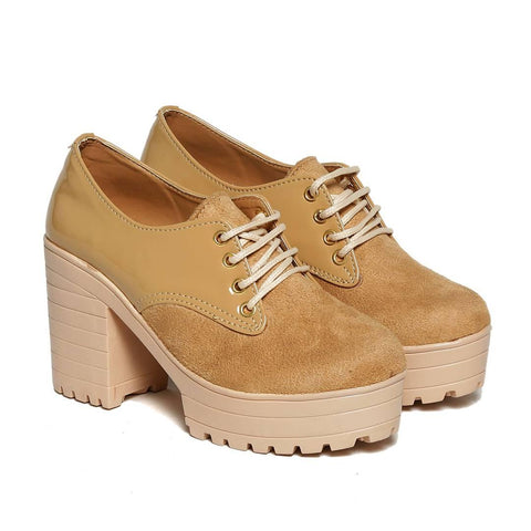 Women Trendy Beige Suede Solid Heeled Boots