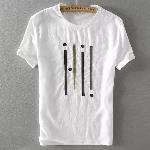 Men's White Cotton Printed Round Neck Tees - Trend Eve