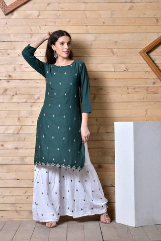 Women's Embroidered Straight Green Rayon Kurta Bottom Set - Trend Eve