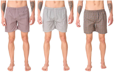 Men'S Cotton Check Shorts Pack Of 3