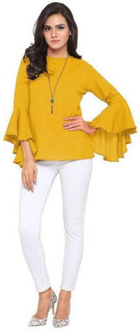 Modern Yellow Crepe Solid Top For Women - Trend Eve