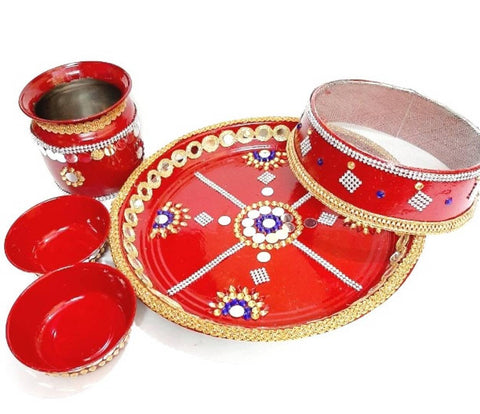 Beautiful krwachouth thali set