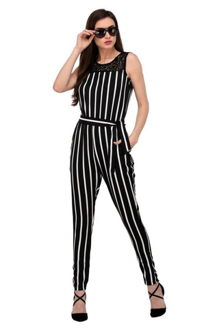 Stylish Black Striped Lace Crepe Striped Jumpsuit For Women