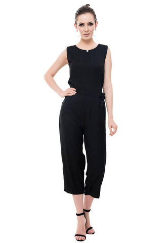 Black Rayon Dyed Regular Wear Jump Suit