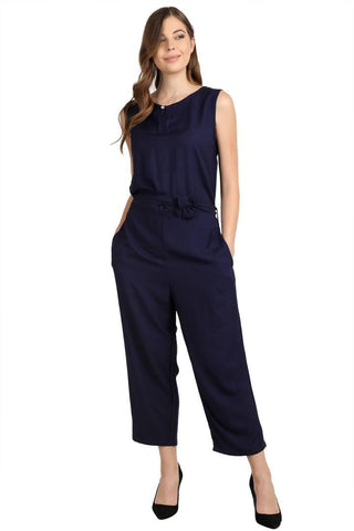 Navy Blue Rayon Dyed Regular Wear Jump Suit
