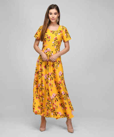 RAABTA 030 MUSTARD FLOWER PRINT LONG DRESS