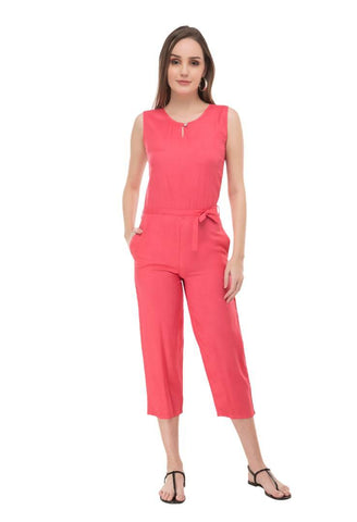 Trendy Peach Rayon Fabric Regular Wear Jumpsuit For Women