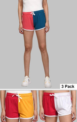 Women's Multicoloured Cottton Blend Regular Shorts (Pack of 3) - Trend Eve