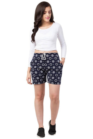 Trendy Cotton Blend Printed Shorts For Women