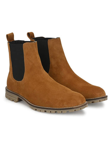 Men's Khaki Suede Leather Outdoor Chelsea Boots