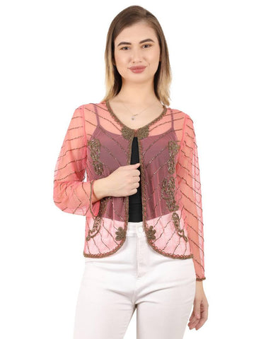 Stylish Net Embellished Jacket Style Full Sleeve Pink Shrug For Women