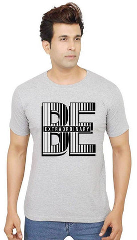 Stylish Grey Cotton Printed Round Neck T-Shirt For Men - Trend Eve
