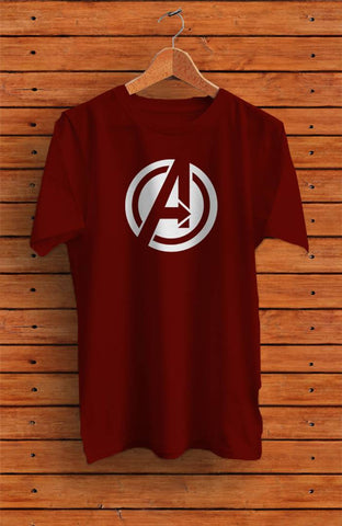 Men's Maroon Printed Cotton Round Neck Tees - Trend Eve