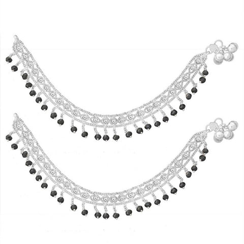 Attractive Brass Silver Crystal Beads Anklets