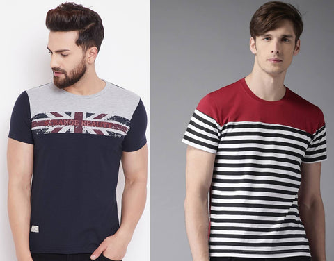 Stylish Cotton Printed Round Neck T-Shirt For Men (Pack Of 2) - Trend Eve