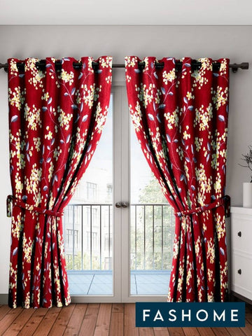 FasHome Maroon Printed Polyester Eyelet Fitting Door Curtain - 7 Feet (Pack of 2) - Trend Eve