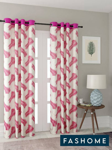 FasHome White Printed Polyester Eyelet Fitting Door Curtain - 7 Feet (Pack of 2) - Trend Eve