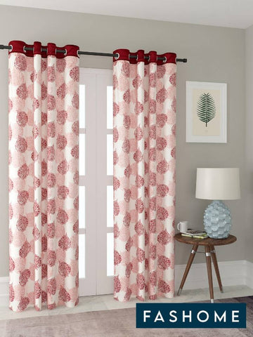 FasHome Multicoloured Printed Polyester Eyelet Fitting Door Curtain - 7 Feet (Pack of 2) - Trend Eve