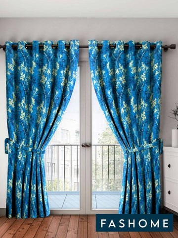 FasHome Blue Printed Polyester Eyelet Fitting Door Curtain - 7 Feet (Pack of 2) - Trend Eve