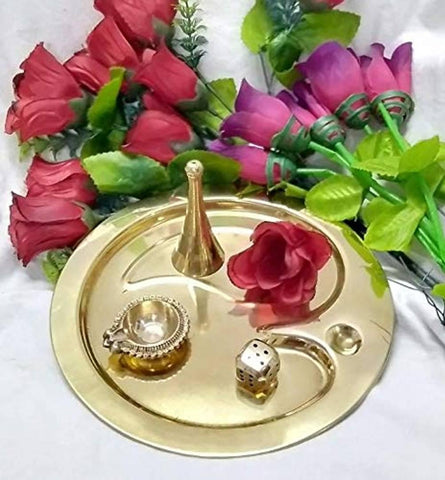 Essential Brass Puja OM Thali Set (10 inch Diameter) Pujan with Free Daara Polish Powder