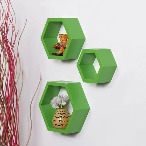 Creative Green Wall Hanging Hexagonal Rack Shelf