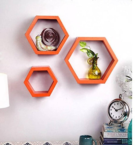 Creative Orange Wall Hanging Hexagonal Rack Shelf