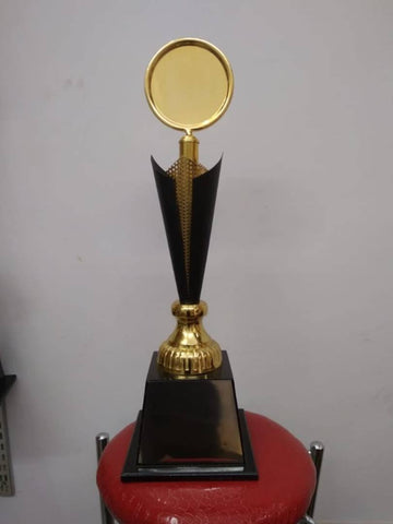Essemtial Aluminium And Wooden Gold Plated Trophy - (Height -19 Inch)